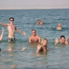 Group floating in the Dead Sea